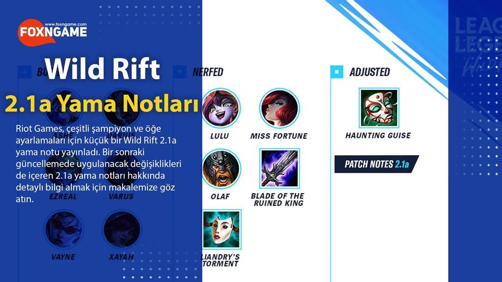 LoL Wild Rift: 2.1a Yama Notları