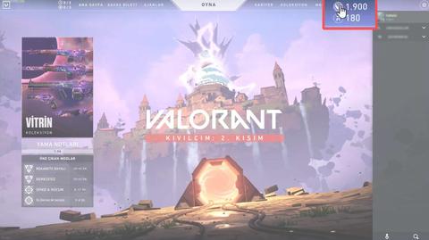 Oyun arayüzünde sağ üst köşede bulunan VP ikonuna tıklayınız.