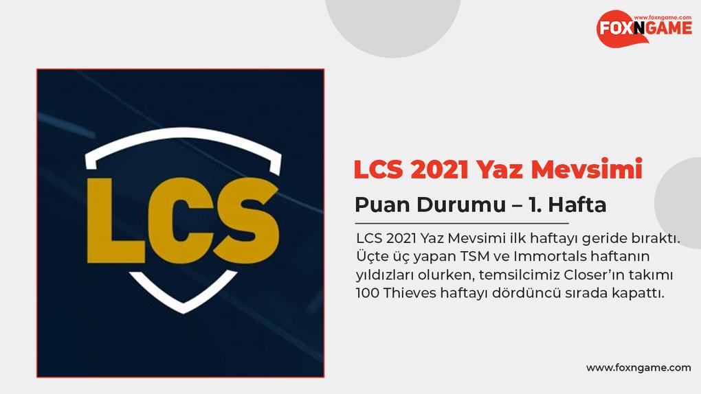 LCS 2021 Yaz Mevsimi Puan Durumu – 1. Hafta