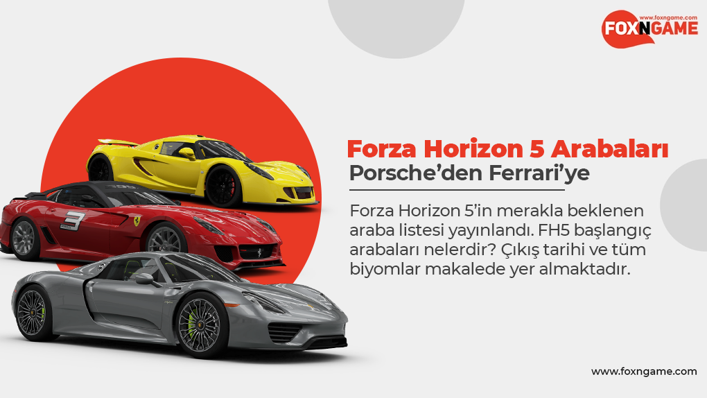 Porsche'den Ferrari'ye Forza Horizon 5 Arabaları
